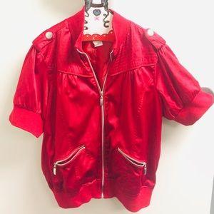 Satin short sleeved Moto jacket, 16